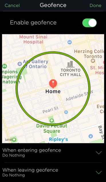 Geofence radius highlighted in HomeKit settings of ecobee app.