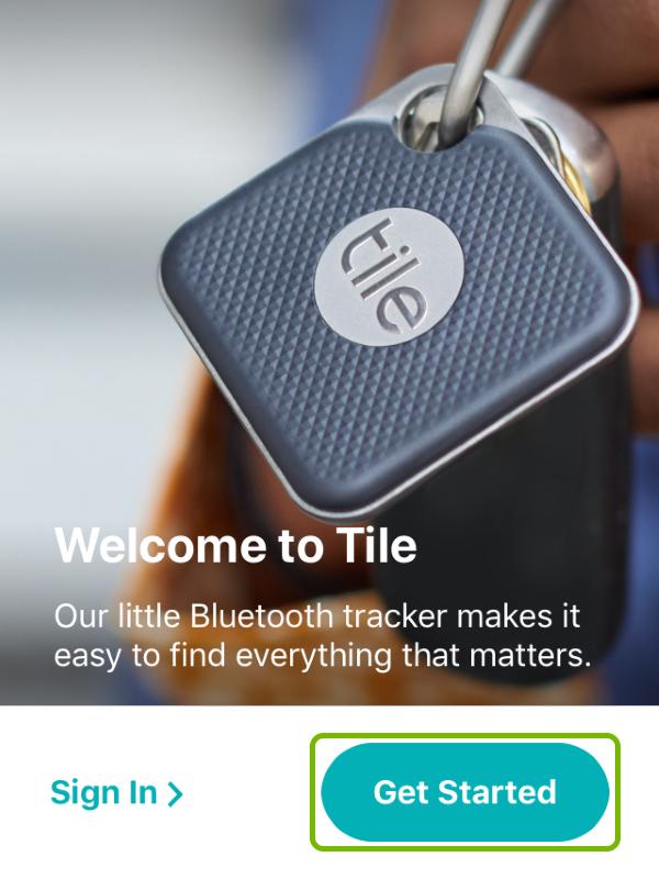Get Started option highlighted in Tile app.