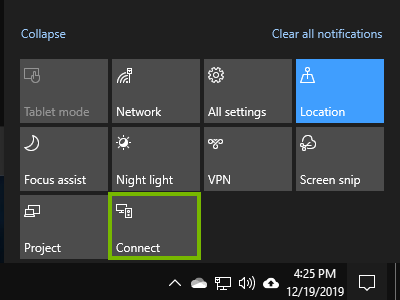 The connect button in the action center