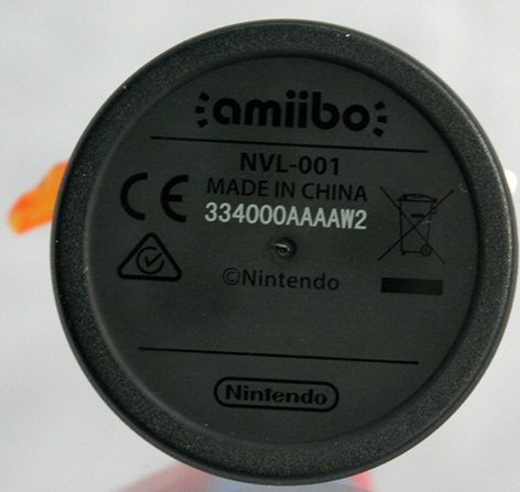 Amiibo bottom showing the model number