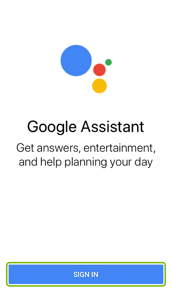 Sign In button highlighted in Google Assistant app.