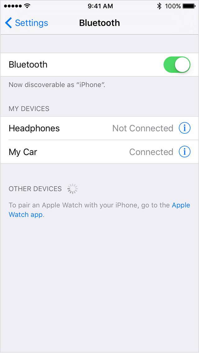 iOS Bluetooth menu with Bluetooth ON. Screenshot.