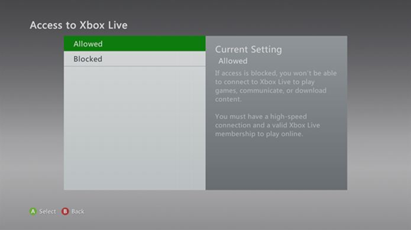 Allowing xbox live