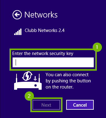 Network page with the security key box and the Next button highlighted.