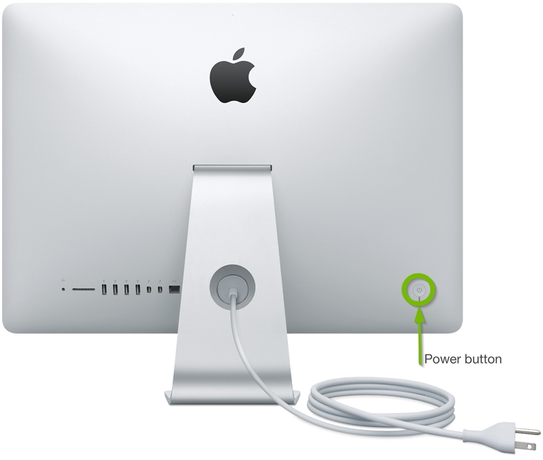 iMac rear-facing power button.