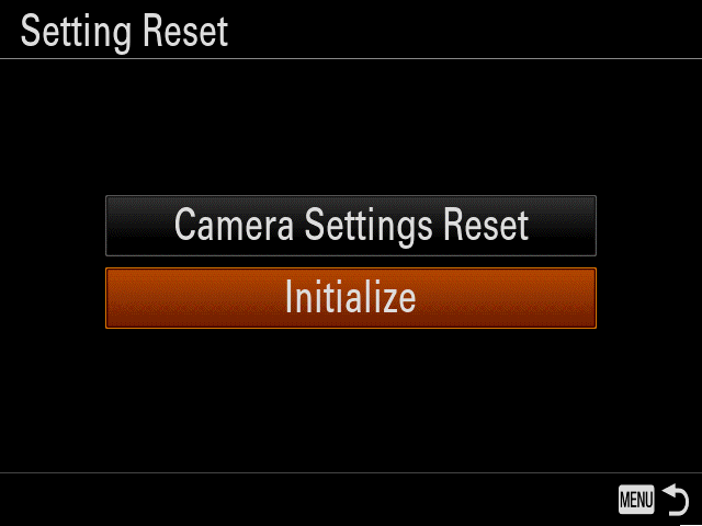 Camera screen with highlighted button