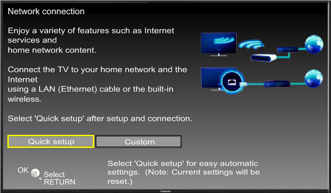 Quick setup button highlighted on Network connection screen