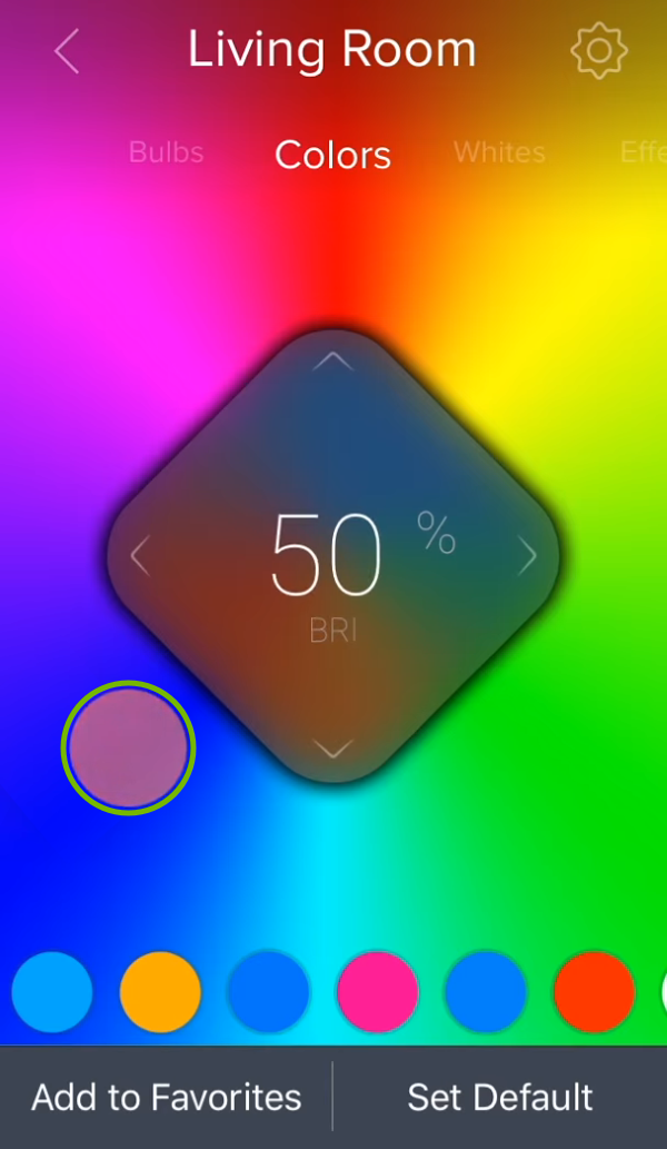 Color swatch highlighted over color picker area in ilumi app.