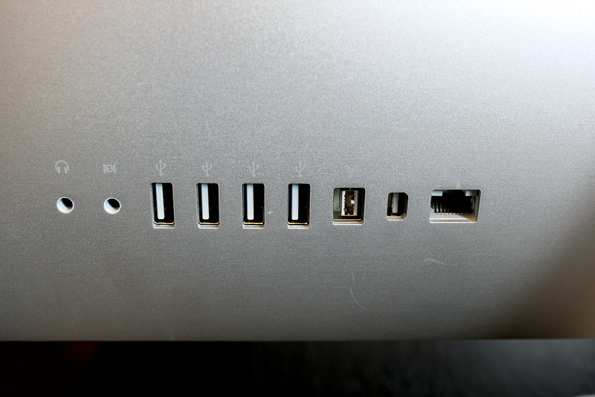 Photo of the rear-facing USB ports on an iMac.
