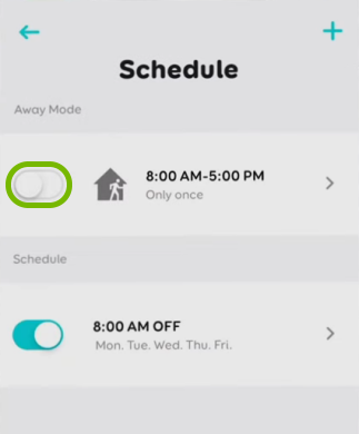Toggle switch highlighted for Away Mode in schedule settings for selected bulb in EufyHome app.