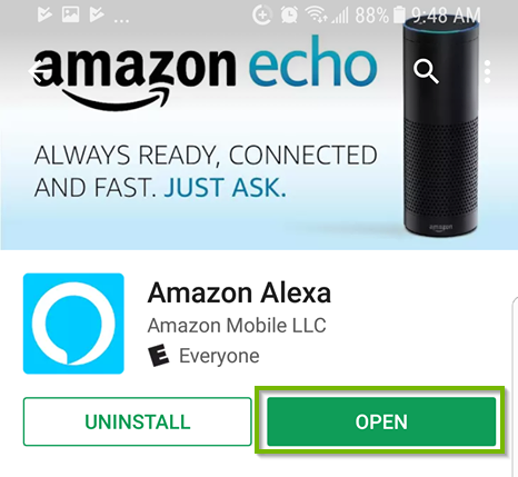 Android app store for amazon alexa with open highlighted