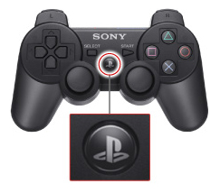 PlayStation 4 controller highlighting PS button