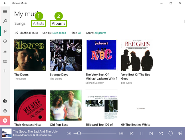 Groove music library display options.