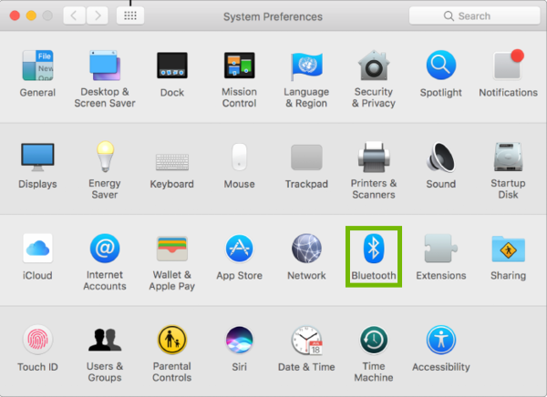 System Preferences with Bluetooth highlighted.