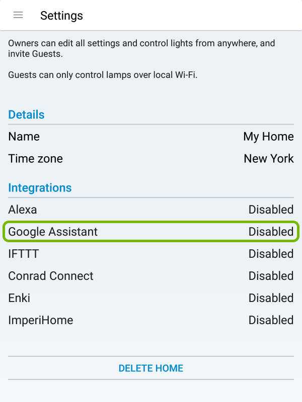 Google Assistant highlighted in WiZ app settings.