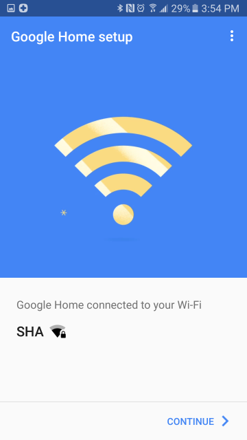 Wi-Fi connection confirmation screen