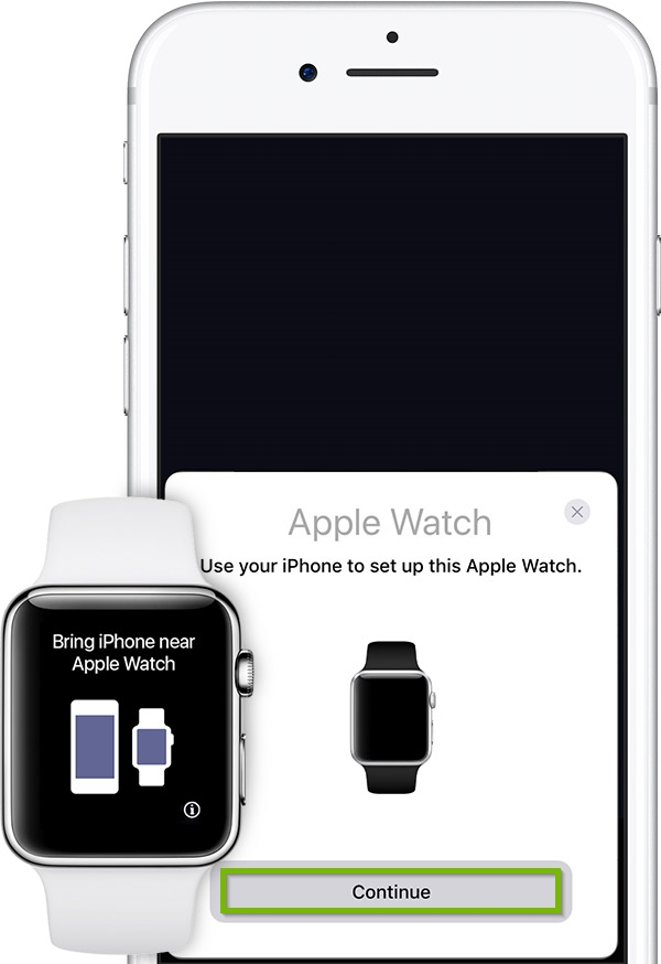 iPhone and Apple watch attempting to automatically pair. Continue button highlighted. Illustration.