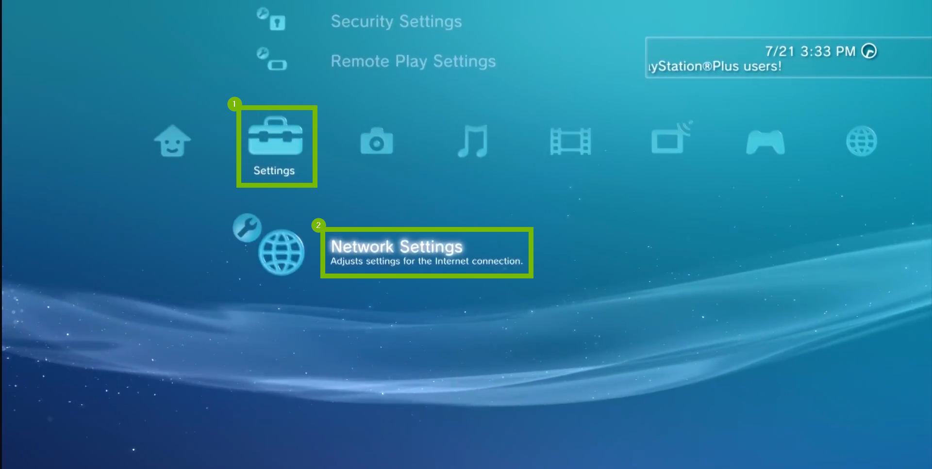 main menu with settings menu highlighted and network settings highlighted