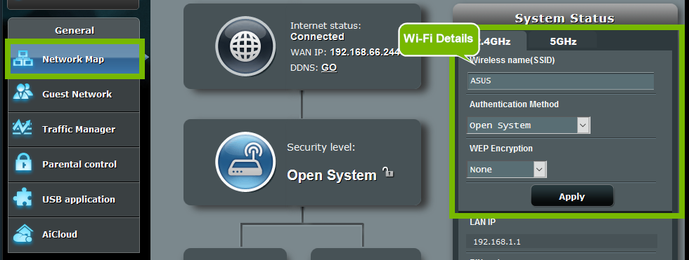 Network Map menu with Wi-Fi details on the right. Screenshot.