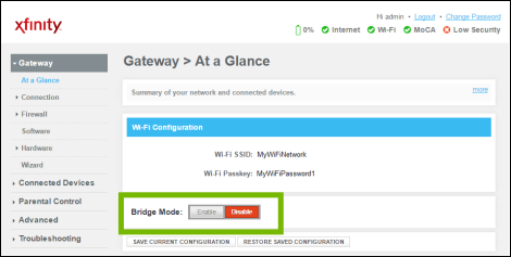Bridge Mode settings highlighted.