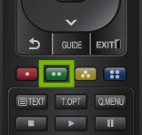 Remote with green options button highlighted.