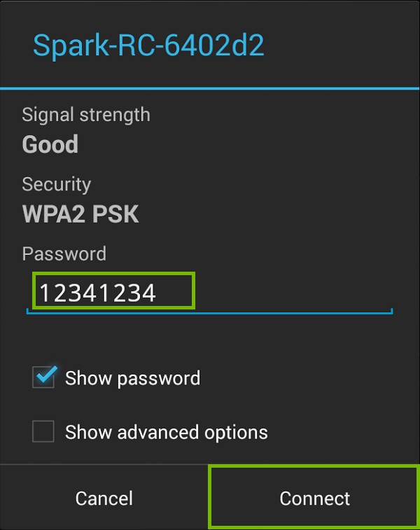 Wi-Fi connection screen with 12341234 and connect highlighted. Screenshot