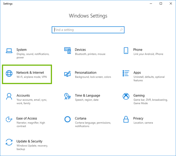 Windows 10 Settings with Network and Internet highlighted.
