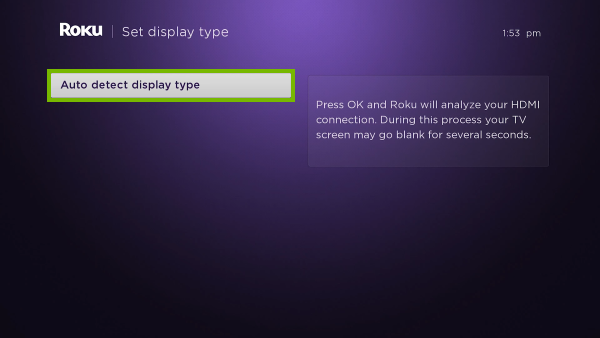 Auto detect display type option highlighted in Display type setup.