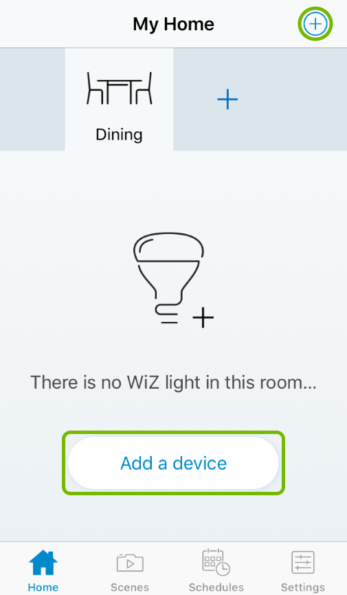 Add a device and plus buttons highlighted in WiZ app.