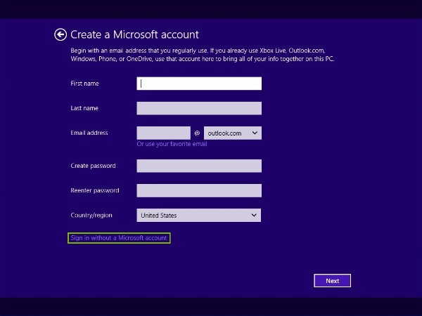 Sign in without a Microsoft account highlighted
