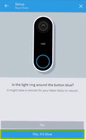 Doorbell reconnected with Yes it's blue highlighted.