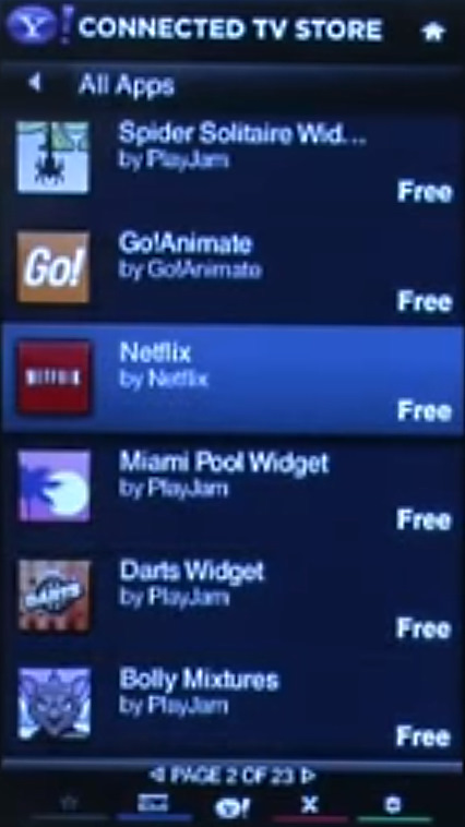List of apps showing in Connected TV Store on VIA platform.