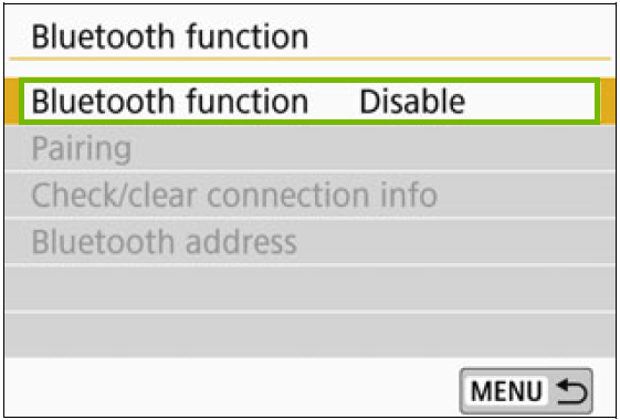 Bluetooth function menu with bluetooth function highlighted