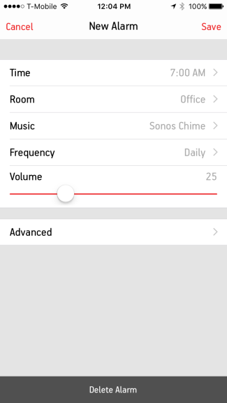New Alarm settings customization screen in Sonos Controller on mobile devices
