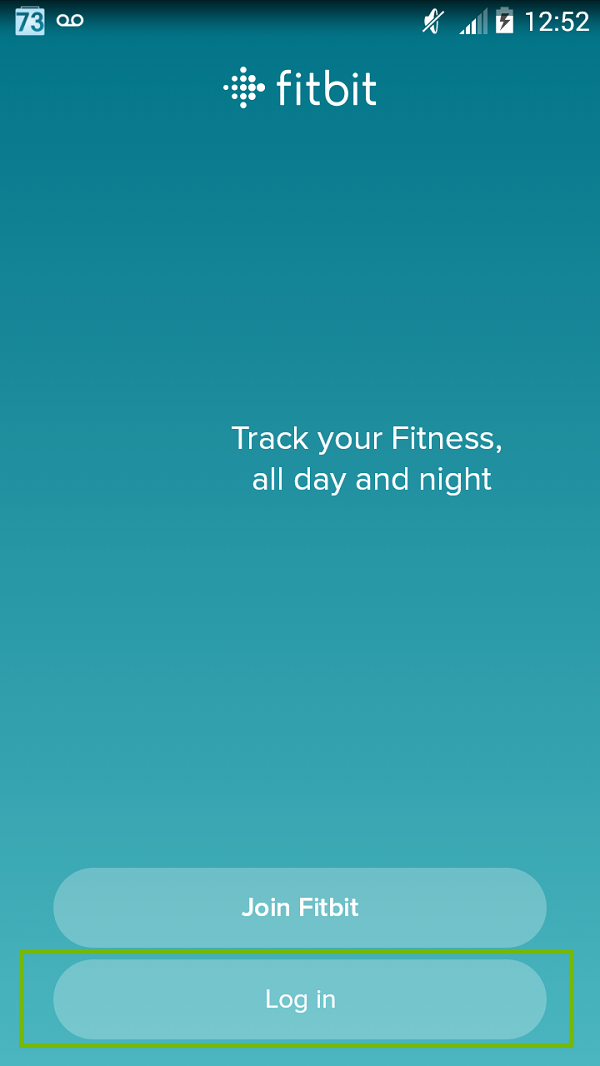 Fitbit screen with Log In highlighted. Screenshot