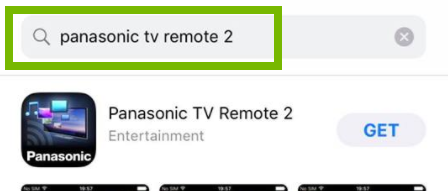 Panasonic TV Remote 2 highlighted in search results