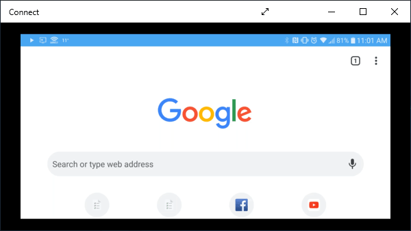 Browsing Google on smartphone showing in Connect app.
