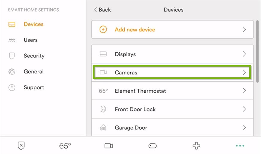 Smart Home Settings menu