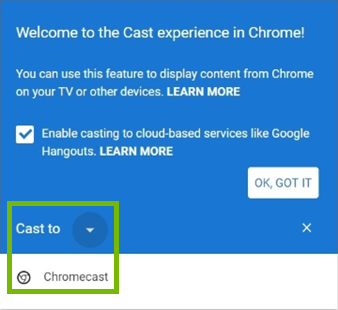 Cast to drowndown menu in Chrome.