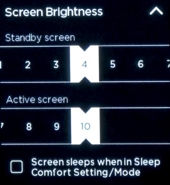 ecobee screen brightness sliders.