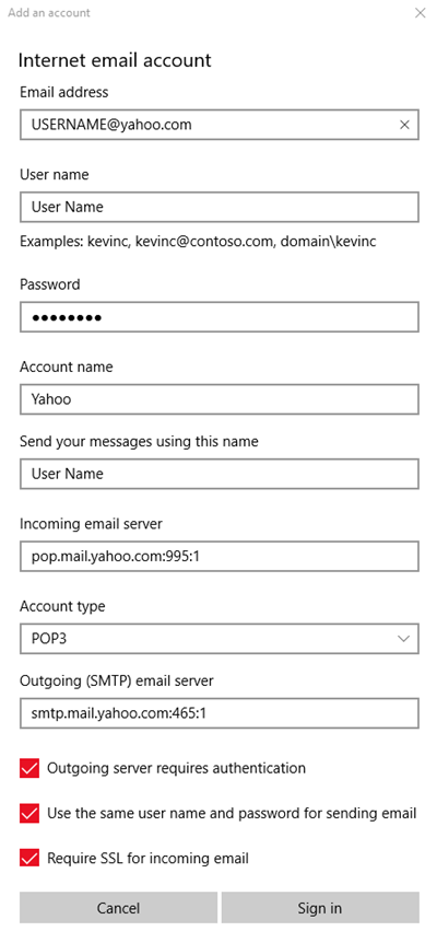 Windows mail settings with yahoo