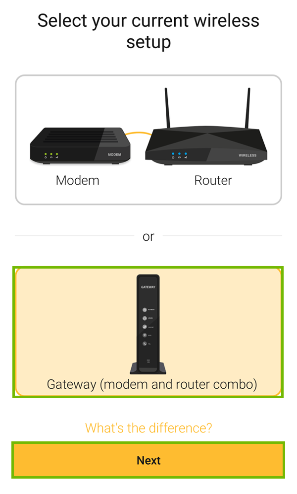 Gateway setup with next highlighted.