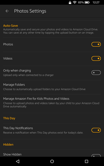 Photos Settings screen on Fire tablet