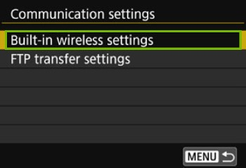 Communication Settings menu with Built in Wireless settings highlighted