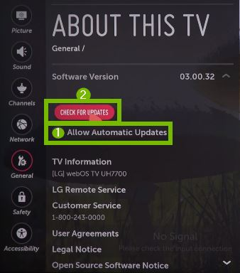 About this TV menu with CHECK FOR UPDATES selected. Screenshot.
