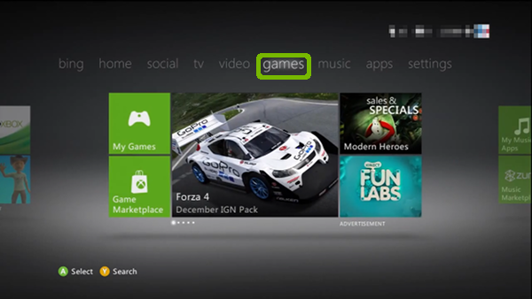 Xbox Dashboard with Games highlighted.