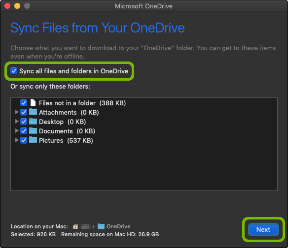 File choice with Sync all and Next button highlighted.