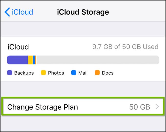 iCloud manage storage screen highlighting the change storage plan option.