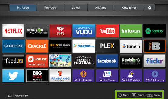 Move, Delete and Cancel options highlighted on Fullscreen VIA Plus Apps Window on VIZIO Smart TV.