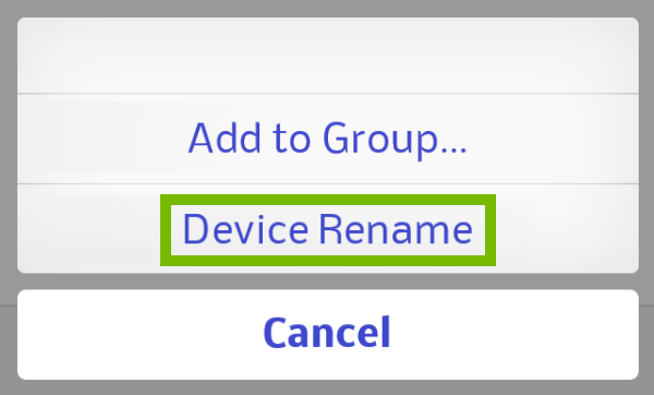 Device Rename highlighted